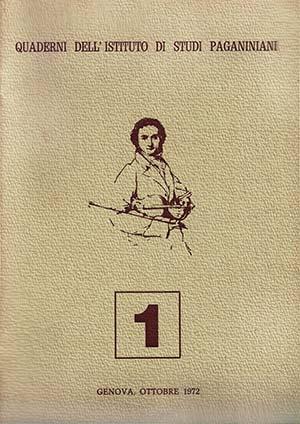 Copertina Istituto di Studi Paganiniani Quaderno 1 Ottobre 1972