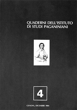 Copertina del Quaderno n 4 dell'Istituto di Studi Paganiniani - Dicembre 1984
