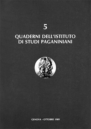 Copertina del Quaderno n 5 degli Istiituti di Studi Paganiniani
