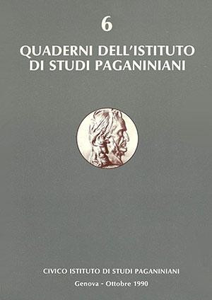 Copertina Quaderno 6 Istituto di Studi Paganiniani Ottobre 1990