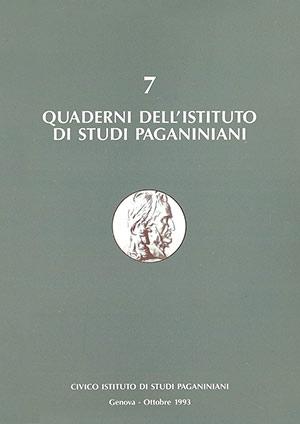 Copertina del Quaderno n 7 dell'Istituto di Studi Paganiniani - Ottobre 1993