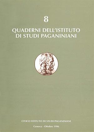 Copertina del Quaderno n 8 dell'Istituto di Studi Paganiniani - Ottobre 1996