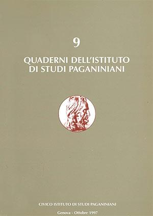 Copertina del Quaderno n 9 dell'Istituto di Studi Paganiniani - Ottobre 1997